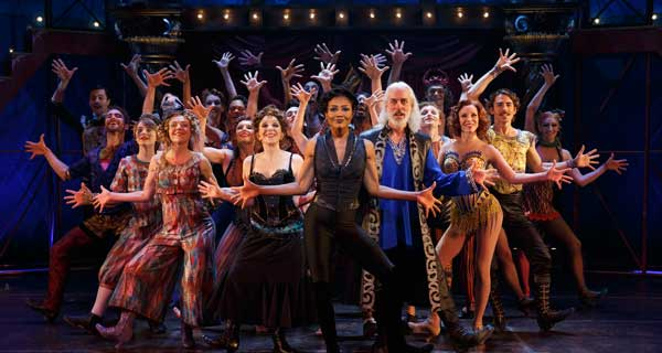 The cast of Pippin at the Music Box Theatre