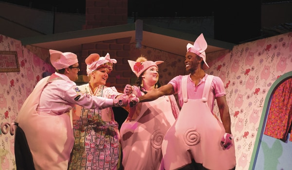 Daniel Buckley, Alison Jiear, Leanne Jones, Taofique Folarin in The Three Little Pigs.
