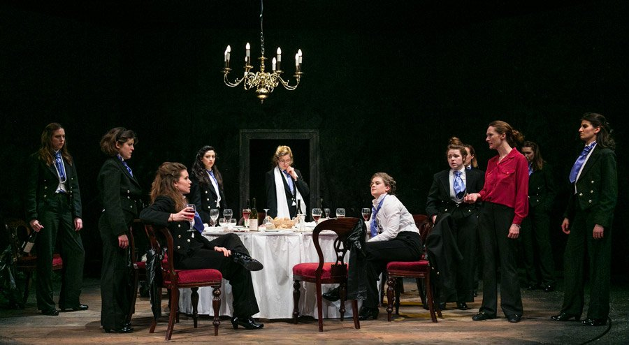 All female production of Posh at Pleasance Theatre