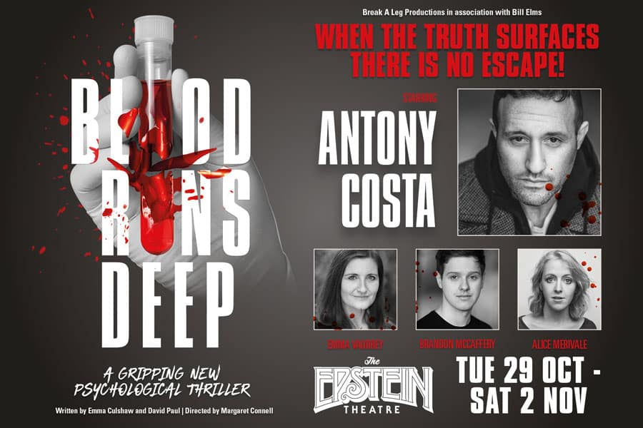 Antony Costa to star in premiere of Blood Runs Deep at Epstein Theatre